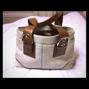 Authentic Vintage Cream Coach Satchel handbag